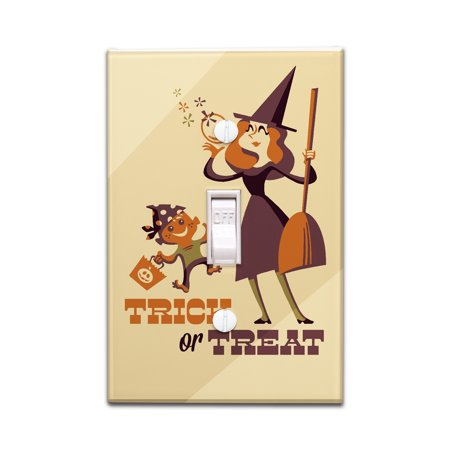 Trick or Treat - Mom & Son - Retro Halloween - Lantern Press Artwork (Light Switchplate Cover)