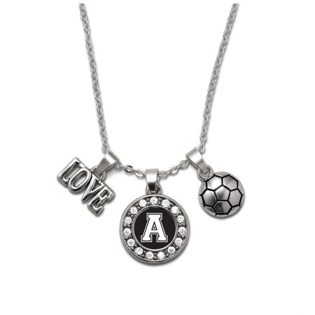 My Sports Initial Circle Charm Soccer Necklace- Letter A