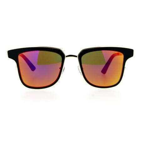 SA106 Mirrored Mirror Horn Rim Cat Eye Metal Outline Womens Sunglasses (Cheap Womens Sunglasses Online)