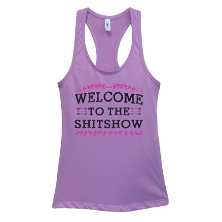 """Lavender Twill Shirt - Funny women basic humor tank top """"Welcome To The Shitshow"""" Funny Threadz XX-Large, Lavender"""