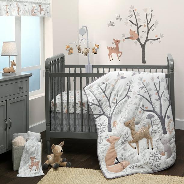 3 Piece Crib Bedding Set, Blue Deer Head Baby Bedding