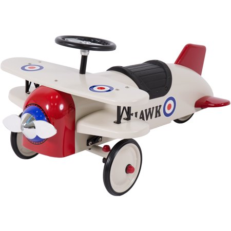 best choice products ride on bi plane metal pedal car kids outdoor toy