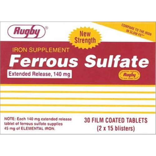 Rugby Ferrous Sulfate Extended-Release 140mg Tablets 30 ea (Pack of 2)