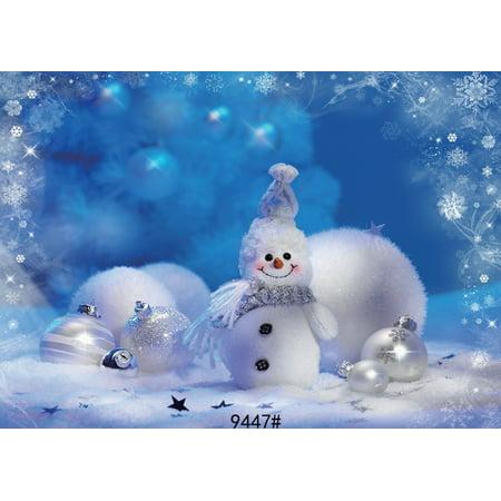 GreenDecor Polyster 7x5ft Christmas Backdrop Photography Prop Photo Background Christmas Balls