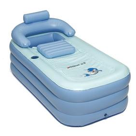 Adult Child Folding PVC Inflatable Bath Tub Air Pump Portable Spa Warm Pump