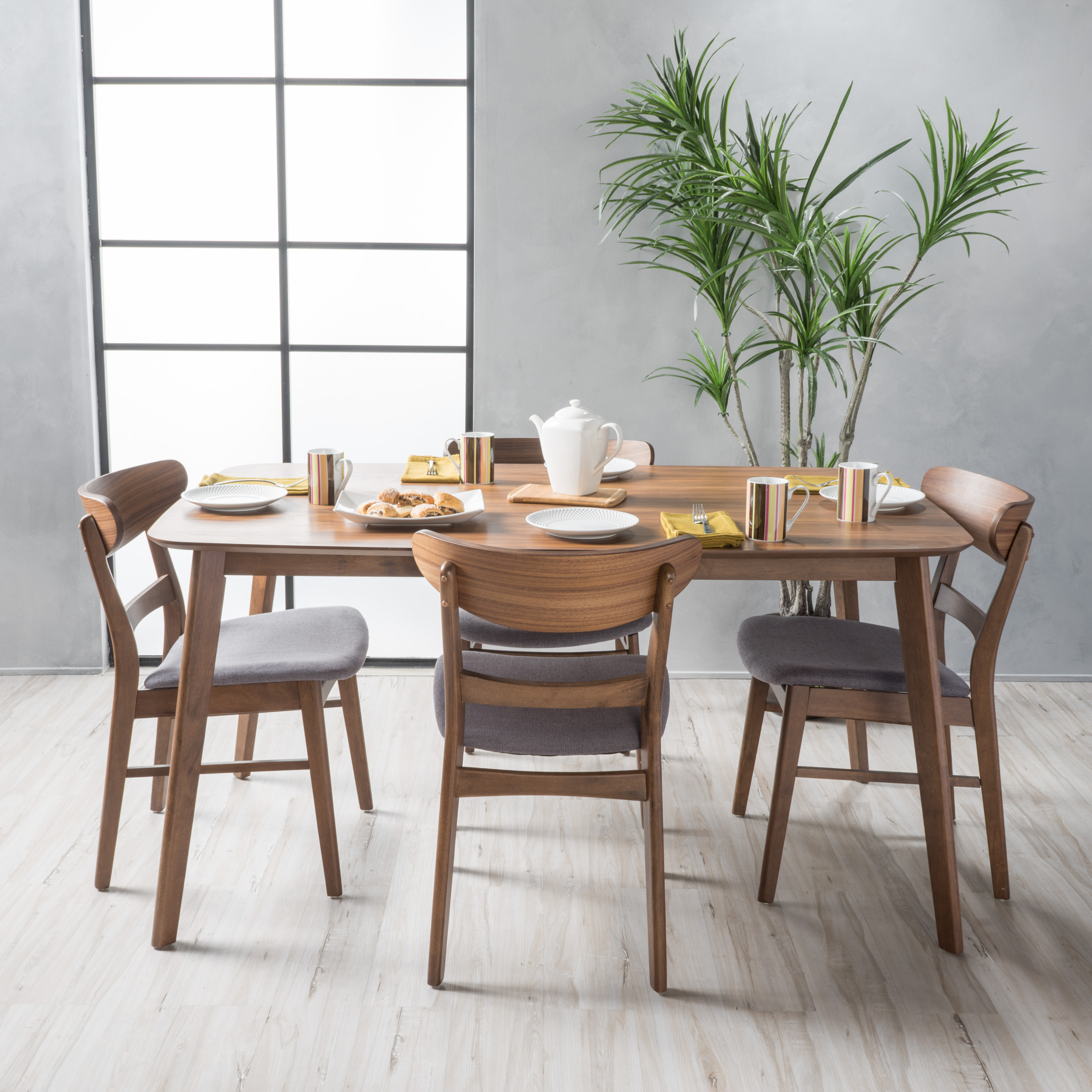 Noble House Lydia Natural Walnut Wood Dark Grey 5 Piece Dining Set
