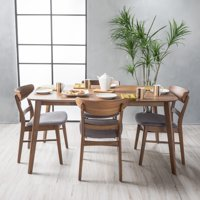 Noble House Lydia Natural Walnut Wood 5-Piece Dining Set