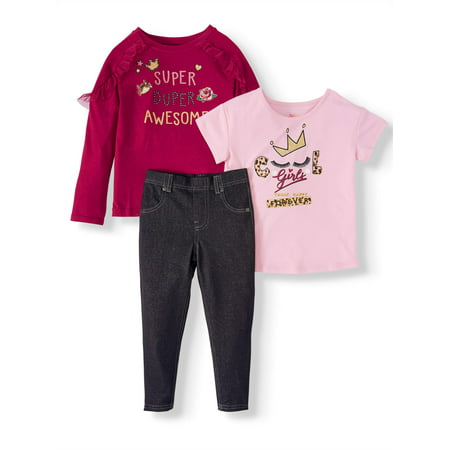 365 Kids From Garanimals Mix &-Match Graphic Tops and Leggings, 3-Piece Outfit Set (Little Girls and Big (Children's Outfits)