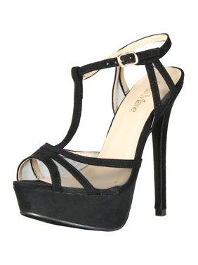 ff691cee76d9 Product Image Bella Marie Womens Story-1 Mesh Ankle T-Strappy Sandal Peep  Platform Pump Heels
