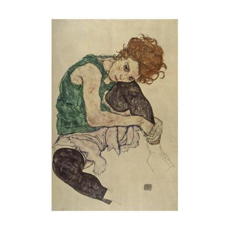 Egon Schiele Artwork - Seated Woman with Bent Knee, 1917 Print Wall Art By Egon Schiele
