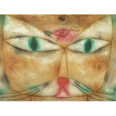 Cat and Bird Abstract Expressionist Painting Print Wall Art By Paul