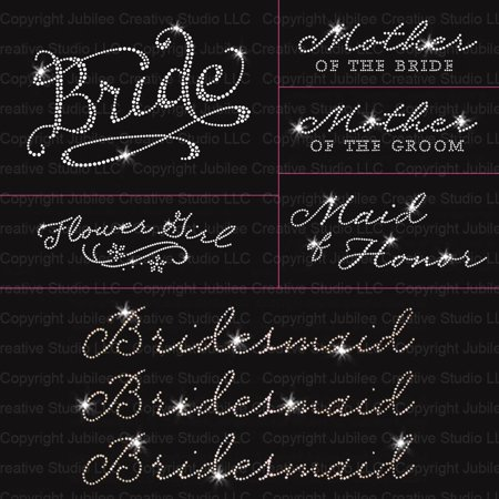 Romantic Wedding Pack - 8pc Bride - Iron On Rhinestone Transfer - Halloween Rhinestone Transfers