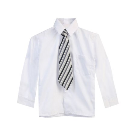 Boys White Tie Long Sleeve Button Special Occasion Dress Shirt - White Dress Shirt Boys