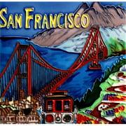 En Vogue B-320 San Francisco Golden Bridge - Decorative Ceramic Art Tile - 8 in. x 8 in.
