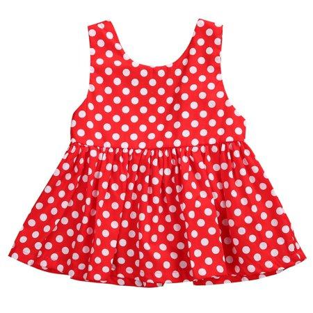 Newborn Infant Baby Girls Kids Summer Sleeveless Polka Dot Dress Outfit Clothes