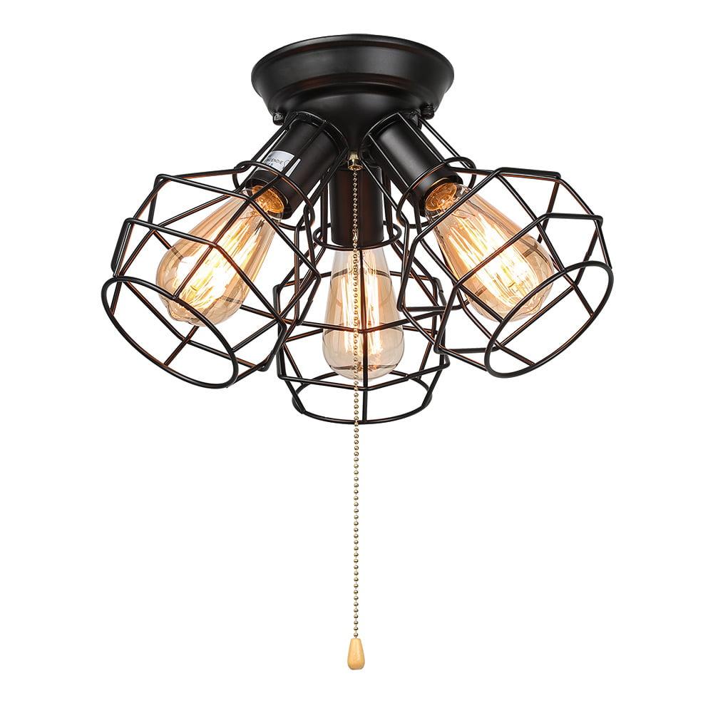 Lnc wire cage ceiling lights 3 light pull string flush mount ceiling light