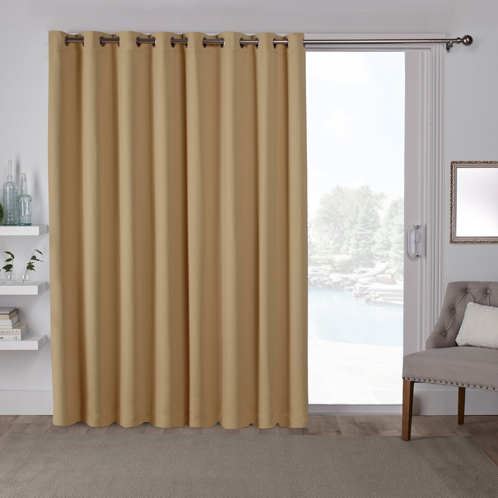 Exclusive Home Curtains 1 Pack Sateen Blackout Wide Patio Grommet Top Single Curtain Panel
