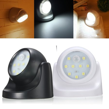 Jeteven LED Sensor Light 9 SMD PIR Motion Activated Cordless Night Lamp White In/Outdoor Garden Wall Patio,White color