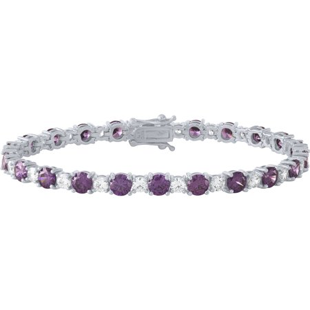 Sterling Silver Plated Simulated Amethyst and CZ Tennis Bracelet