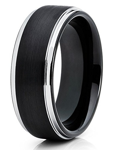Tungsten Carbide Ring Men Women 8mm Polished Black Band With Silver Edge Details