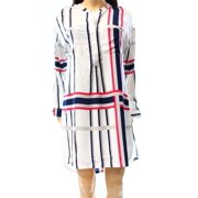 Valette NEW White Women's Small S Striped Half Button Shift Dress