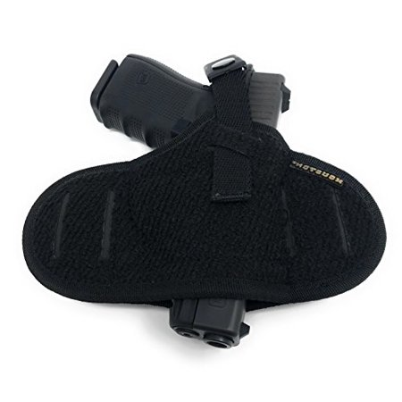 Tactical Pancake Gun Holster Houston - Nylon Concealed Carry Soft Material | Suede Interior for Maximum Protection | Outside Belt Slide | Ambidextrous Fit: Glock 19 23 32 26 27 33 30 | M&P Shield, (Best Value Gun Belt)