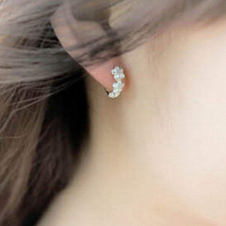 Women Girls Earrings Clip Plated 925 Silver Hypoallergenic Hinged Hoop Earrings Flower Rhinestone - image 7 of 7