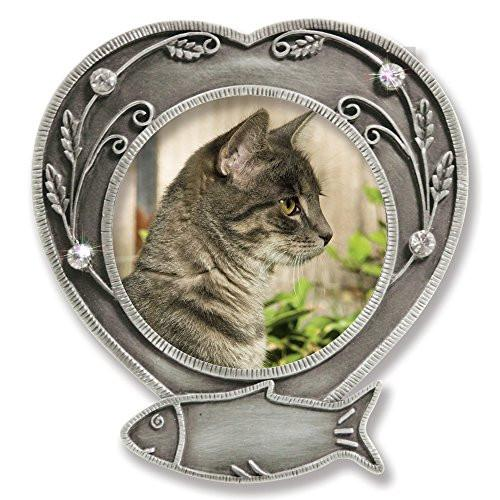 Cat Memorial Frame - Metal Heart Shaped Frame with Crystals