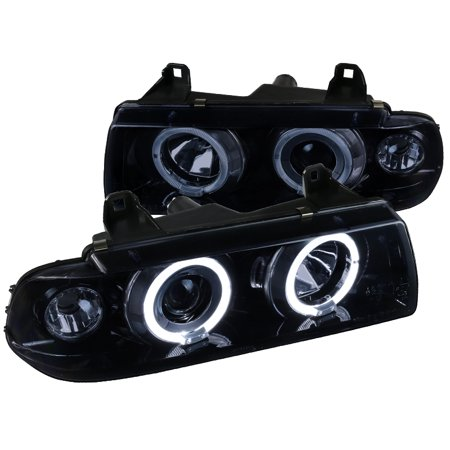 Spec-D Tuning For 1992-1998 Bmw E36 3-Series 2/4Dr Glossy Black Dual Halo Projector Headlights Head Lamps