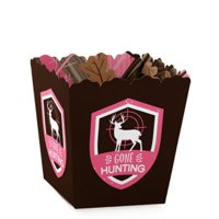 Pink Gone Hunting - Party Mini Favor Boxes - Deer Hunting Girl Camo Baby Shower or Birthday Party Treat Candy Boxes - Set of 12