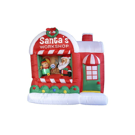 5' Inflatable Lighted Santa Claus Workshop Christmas Outdoor Decoration - Inflatable Christmas Tree
