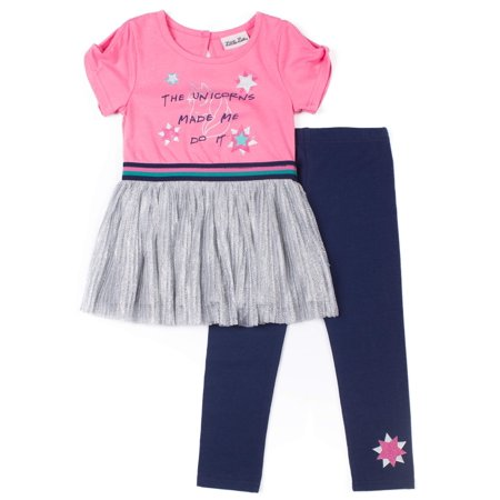 Little Lass Short Sleeve Metallic Pleated Skirt Dress & Leggings, 2-Piece Outfit Set (Baby Girls & Toddler Girls)