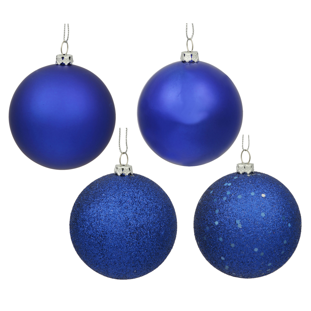 "12ct Cobalt Blue Shatterproof 4-Finish Christmas Ball Ornaments 4"" (100mm)"