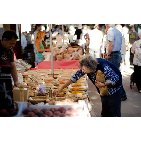 Peel-n-Stick Poster of Old Market Provence Elderly Woman Elderly France Poster 24x16 Adhesive Sticker Poster Print