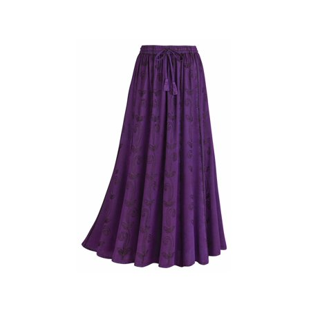 f0a64178213 CATALOG CLASSICS - Women s Embroidered Broom Long Peasant Skirt - Enzyme  Wash - Walmart.com