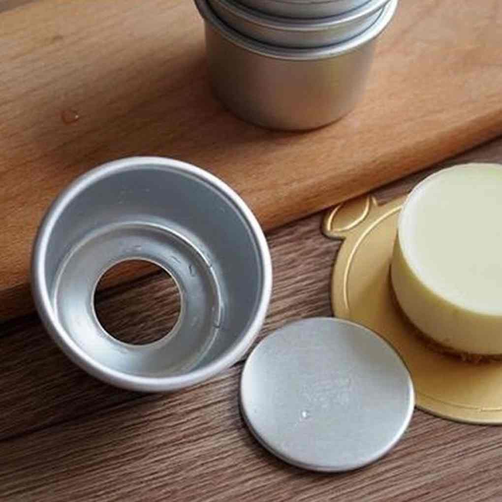 5pcs 2.5 Aluminum Alloy Round Mini Cake Pan Removable Mold DIY Baking Tools Kit