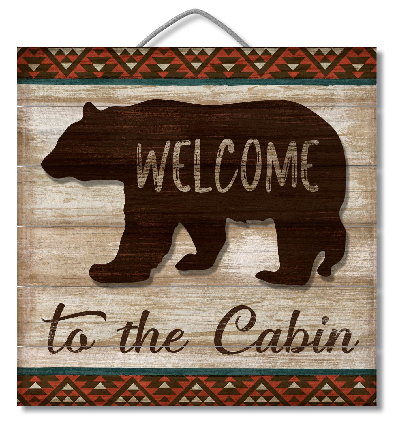 "Slatted Pallet Wood Sign with 3D Bear Accent Piece ""Welcome to the Cabin"" Wall Decor, Slatted pallet wood sign with a laser cut 3-D accent.., By American Woodcrafters"