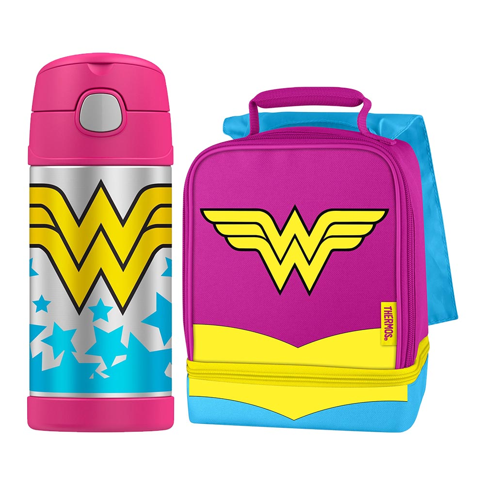 Thermos Funtainer 12oz Cold Beverage Bottle Lunch Box Kit - Wonder Woman