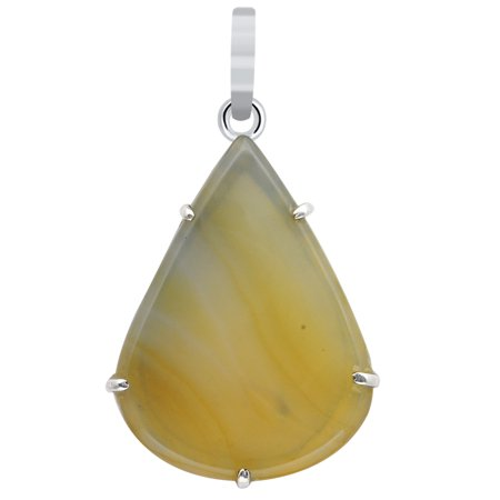 Natural 72 Carat Yellow Lace Agate Sterling Silver Chain Pendant