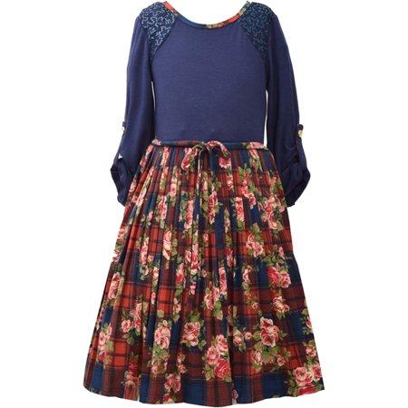 Plaid And Floral Dress - Big Girls Tween 7-16 Navy-Blue/Multi Pleated Floral Plaid Knit Dress, 10 [BNJ05807]