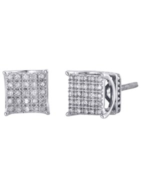 10K White Gold Pave Set Diamond 4 Prong 3D Square Studs Mini Earrings 0.15 CT.