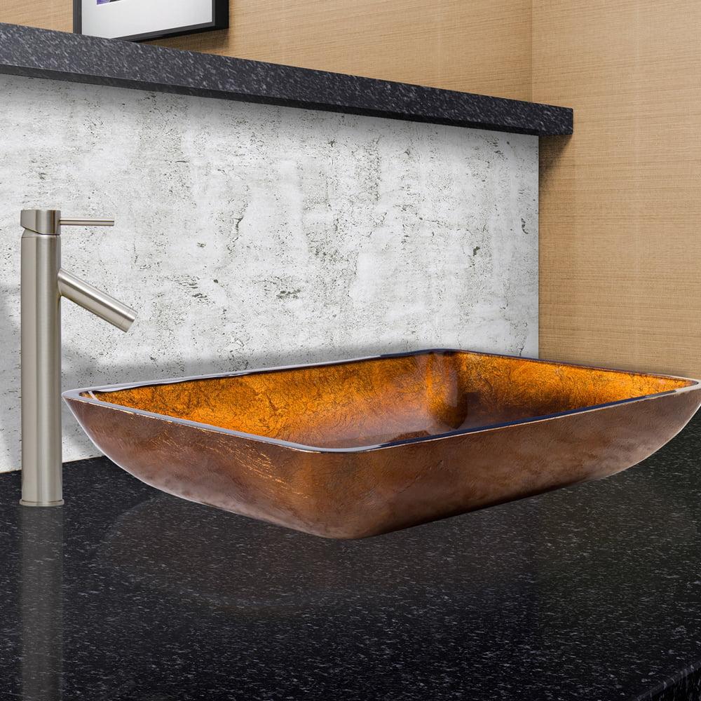 Vigo Rectangular Russet Glass Vessel Sink And Dior Faucet Set In
