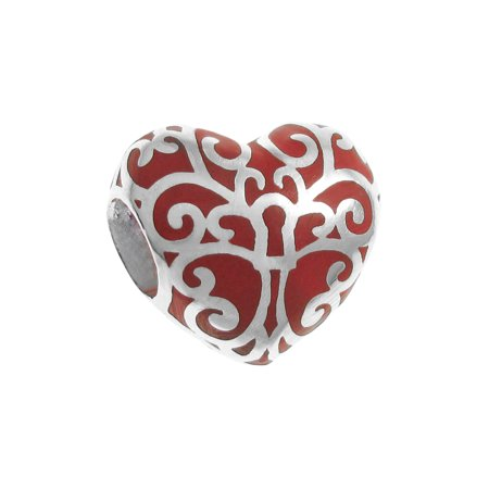 Sterling Silver Tree Of Love Heart Red Enamel European Style Bead Charm Fits Pandora