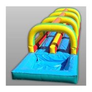Inflatable Dual Lane Slide And Splash w Pool