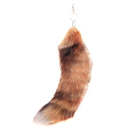 URSFUR Genuine canadian Red Fox Tails Keychains Natural Color 15