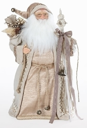 "18"" Natural Old World Santa w/ Staff Christmas Tree Topper ..."