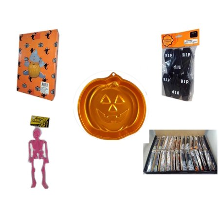 Halloween Fun Gift Bundle [5 Piece] -  Ghost Pumpkin Push In 5 Piece Head Arms Legs - Tombstone Containers Party Favors 6 Count - Wilton Iridescents Jack-O-Lantern Pan - Hanging Skeleton Pink - Larg - Halloween Jack In The Box Head