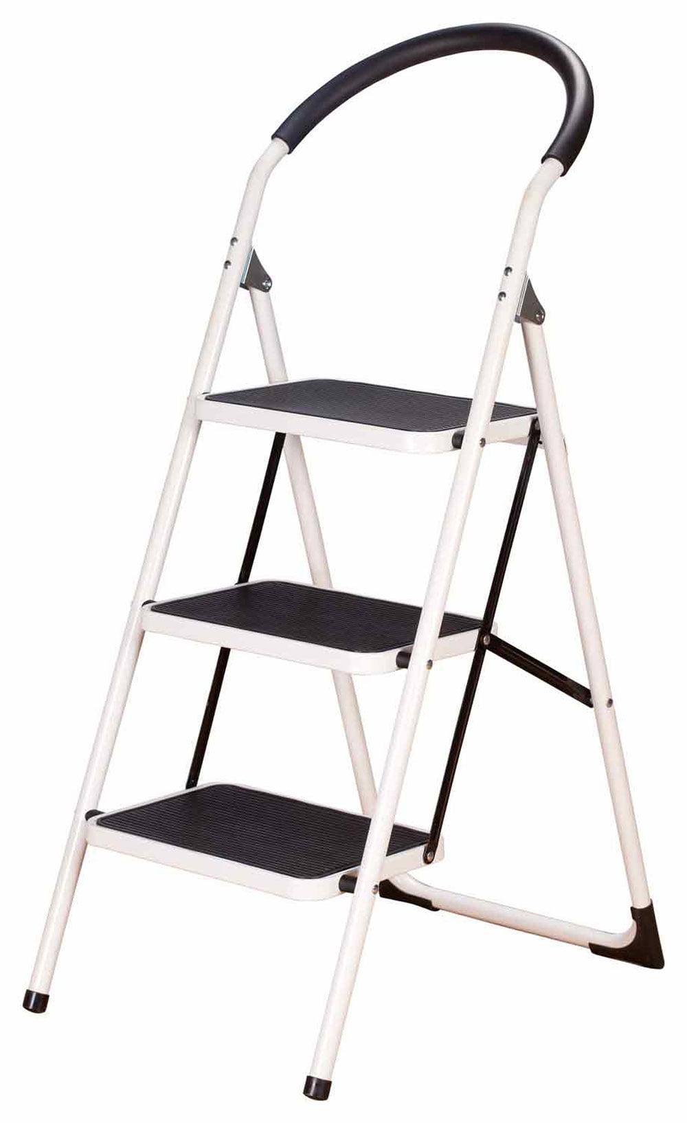 Livingsure 3 Step Ladder Stool Combo With Handgrip Anti
