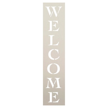 Welcome Stencil by StudioR12 | Reusable Mylar Template | Painting, Chalk |Use for Wall Art, DIY Wood Signs, Home Decor, Vertical word stencil - 8 x 2-inch - STCL222_1 - Halloween Stencils For Signs