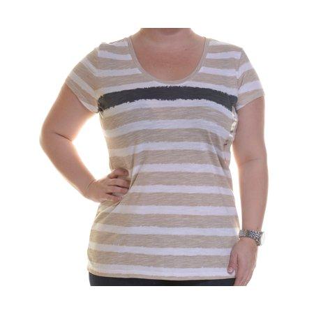 Style & Co  Short-sleeve Striped White Truffle Soft Black T-Shirt Size M